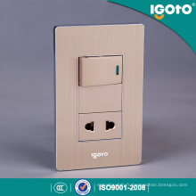 American Type Aluminium brossé Électrique Universal 1 Gang Wall Switch and Socket