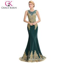 Grace Karin Hot Sale sans manches Elegant Golden Appliques Robe de bal Dark Green Robe de soirée 2016 GK000026-5