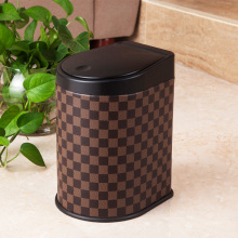 Grid Pattern Brown Color Pressione Dust Bin (H-3LH)