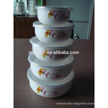 porcelain enamel mixing bowl high quality with PP lid