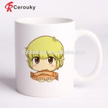 Custom logo printed promotional white ceramic souvenir mug