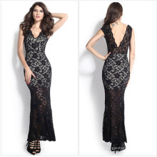 Fashion Maxi Long Evening Black Lace Bride Dress (50140)