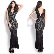 Moda Maxi Long Evening vestido de noiva de renda preta (50.140)