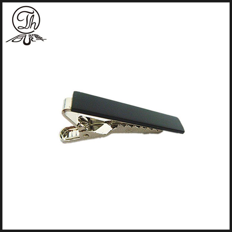 Gold CNC engraved logo clip on tie