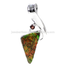 Natural Ammolite And Garnet Gemstone 925 Sterling Silver Pendant Jewelry