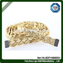 PU Mulheres Cintos Sem Buracos Cintos Moda para Senhoras Vestidos Cintas magras Cintura De Ouro Trançada