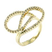 Joyería de la manera para el oro del amor de la boda plateó el anillo de dedo de la plata esterlina 925 (R10404)