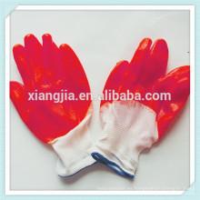 2014 fábrica de China fabrica guantes de seguridad de construcción recubiertos de látex ROJO de alta calidad con algodón 10g de punto forrado