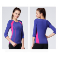 Woman Fitness Two-Tone 92% Nylon 8% Spandex Sportwear Yoga Shirt