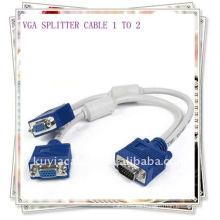 Alta calidad 1 PC a 2 VGA SVGA Monitor Y Adaptador del cable del divisor para el ordenador de escritorio
