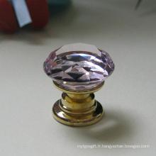 Le cristal rose de meubles d'enfants K9 tire 20mm dans le laiton