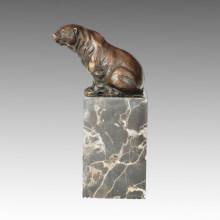 Animal Little Statue Sitting Bear Bronze Sculpture Tpal-278