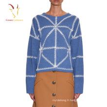 Nouveau chandail fait main de beau design de laine pour la fille, chandail tricoté à la main de dames