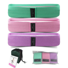 Hip Fabric Elastic Cotton Exercise Resistance Circle Bands Fitness Set with Fabric Covered