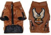 Big Small Personalized Pet Dog Clothes Leather Jacket Brown