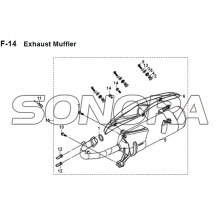 F-14 Escape Silenciador JET 14 XS175T-2 Para SYM Spare Part Top Quality