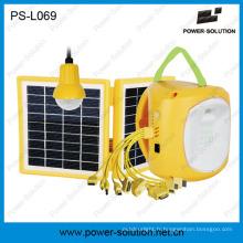 Lumière solaire portative de lampe de puissance de panneau solaire portatif avec l'ampoule supplémentaire de LED