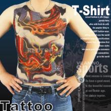 92% Nylon+8% Spandex Fashion Tattoo T-Shirt