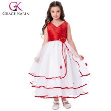 Grace Karin Cheap Sleeveless V-Neck Red Princess Flower Girl Baby Girl Summer Dress CL008937-3