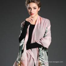 Senhora Long Wool Tiger Pattern Impressão digital Pink Scarf