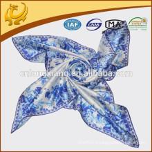 Cachecol de cetim Padrão impresso digital China Lenços de seda para mulheres Senhoras 90 * 90cm