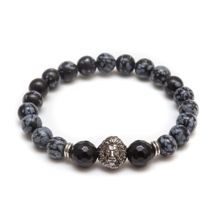Natural Stone Beads Stainless Steel Lion Head Bracelet