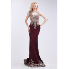 Red Evening Dresses Elegant Beading Square Neck Floor Length Dress with Court Train