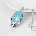 Natürliche Türkis-Edelstein-Schädel-hängende Halskette 04SN0170 mit 60CM silberner Ketten-halb kostbare Stein-Kristallschmucksachen