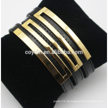 Echtes schwarzes Gürtelschnalle Lederarmbänder mit 18k vergoldetem Metall