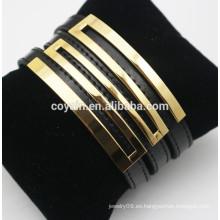 Brazalete de cuero genuino de la hebilla del cinturón negro con el metal plateado oro 18k