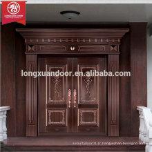 Portes d'entrée en façade personnalisées en usine, portes à double battante en bronze