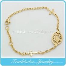 TKB-B0063 IP Regalo de bautismo de oro para padrinos de joyería católica lateralmente cruz pulsera