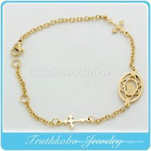 TKB-B0063 IP Gold baptism gift for godparent catholic jewelry sideways cross bracelet