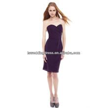HC2177 Dark purple cheapest strapless sleeveless sweetheart neck under 100 dollar knee length folds chiffon kimono style dresses