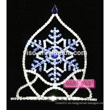 Tiara del desfile del copo de nieve del cristal del zafiro del boutique al por mayor