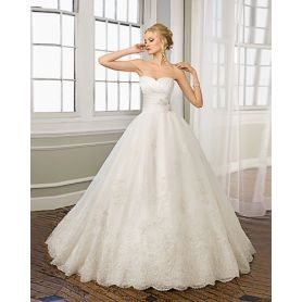 Sweetheart Strapless Satin Organza Chapel Train Empire Beading Ruffled Wedding Dress
