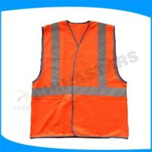 unisex customized orange-red reflective vest with reflective tape