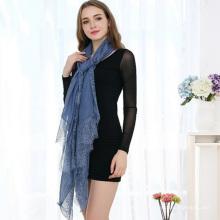2017 en gros meilleure qualité femmes promotionnelles design personnalisé écharpe en dentelle de coton biologique