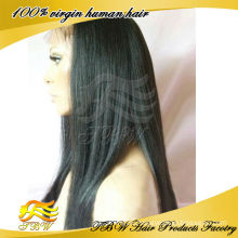 Wholesale indian remy human hair italian yaki lace front wig