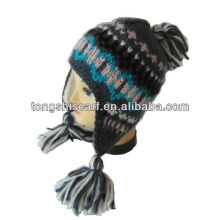 jacquard knit hat with pigtails