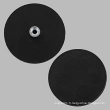 Aimant rond à base de caoutchouc noir avec écrou Pem