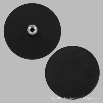 Black Rubber Base Round Magnet with Pem Nut