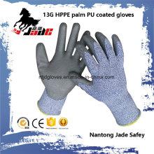 Gant de main résistant aux coupures en caoutchouc 13G PU Niveaux 3 et 5