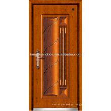 Porta blindada de aço inoxidável, portas de segurança em aço com design moderno