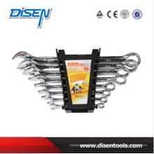 Fine Chrome Double clip plastique 8PCS Combinaton Wrench Set