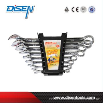 Fine Chrome Dual Plastic Clip 8PCS Combinaton Wrench Set