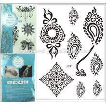 Großhandelspreis Qualität vorübergehender großer reizvoller schwarzer Spitzeentwurfs-Tätowierungaufkleber für Körper j031