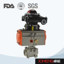 Vanne à bille pneumatique à trois voies en acier inoxydable avec interrupteur de fin de course (JN-BLV2002)