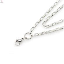 Correntes de aço cirúrgico de titânio, colares de correntes de jóias Jóias de forma simples Corrente de colar de aço cirúrgico de prata simples