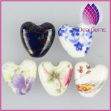 double-sided puffed heart with flower multicolored porcelain Bead